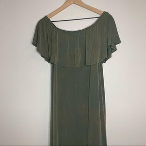 altar'd state | green off the shoulder dress